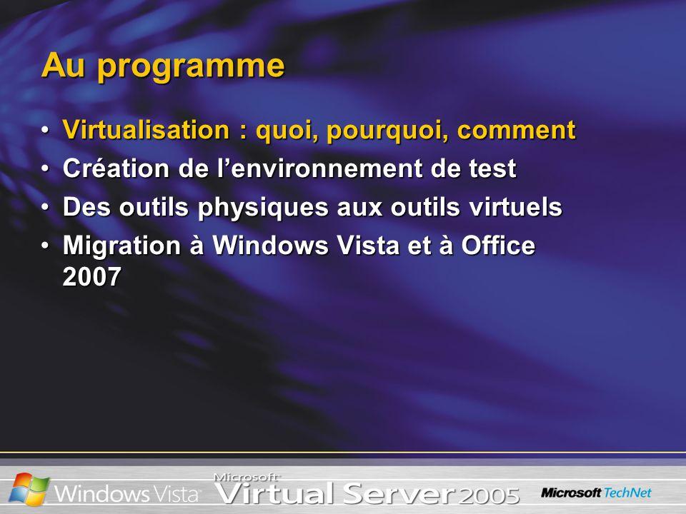 Au programme Virtualisation : quoi, pourquoi, commentVirtualisation : quoi, pourquoi, comment Création de lenvironnement de testCréation de lenvironnement de test Des outils physiques aux outils virtuelsDes outils physiques aux outils virtuels Migration à Windows Vista et à Office 2007Migration à Windows Vista et à Office 2007