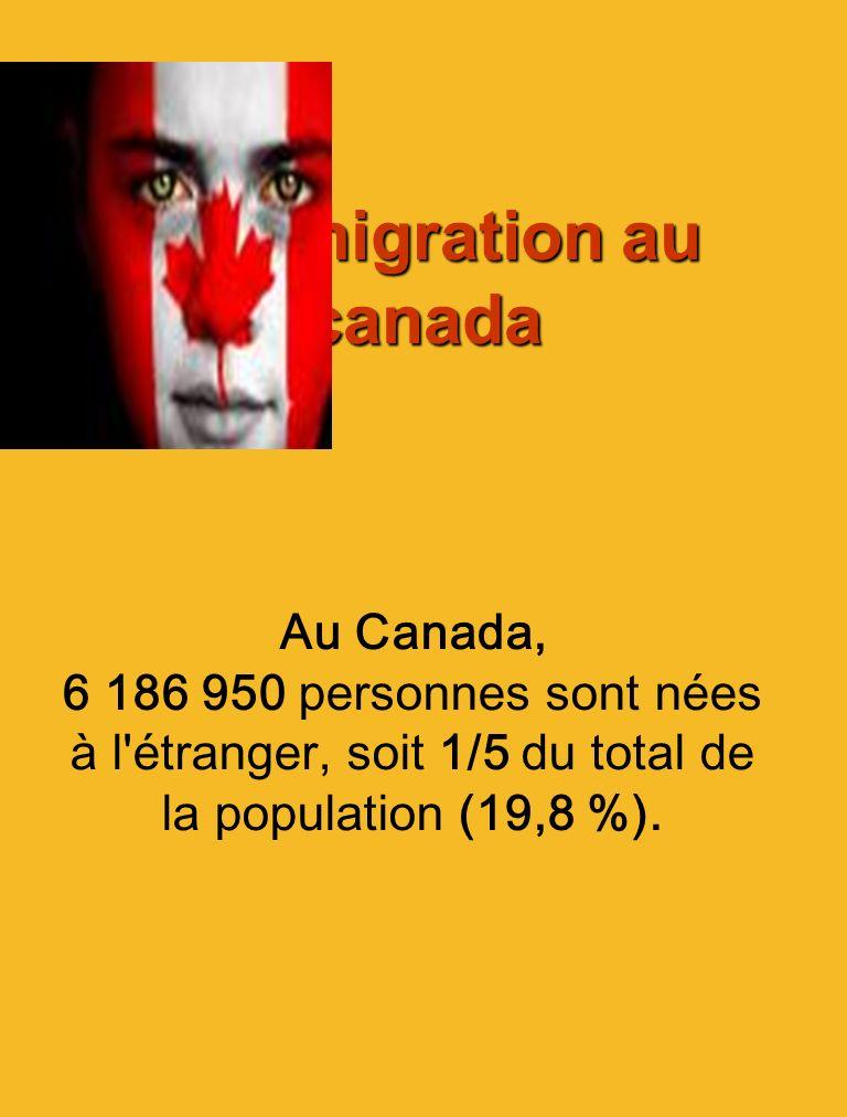 Limmigration au canada Limmigration au canada Au Canada, 6 186 950 personnes sont nées à l'étranger, soit 1/5 du total de la population (19,8 %).
