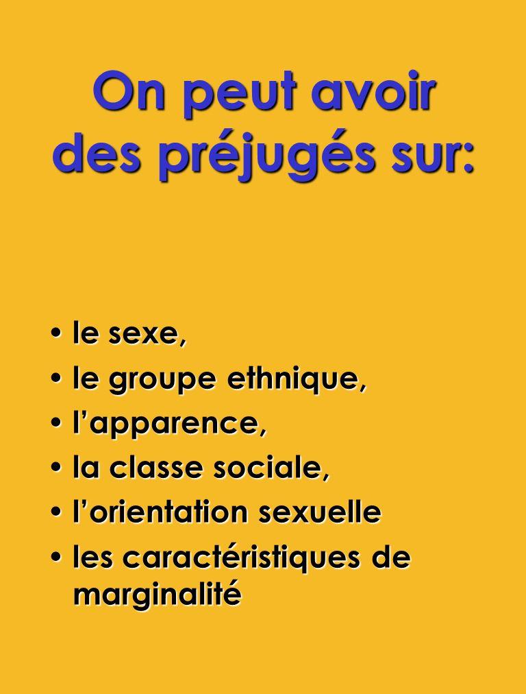 On peut avoir des préjugés sur: le sexe, le sexe, le groupe ethnique, le groupe ethnique, lapparence, lapparence, la classe sociale, la classe sociale