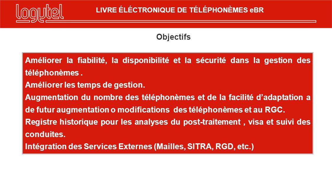 LIVRE ÉLÉCTRONIQUE DE TÉLÉPHONÈMES eBR Objectifs Améliorer la fiabilité, la disponibilité et la sécurité dans la gestion des téléphonèmes.