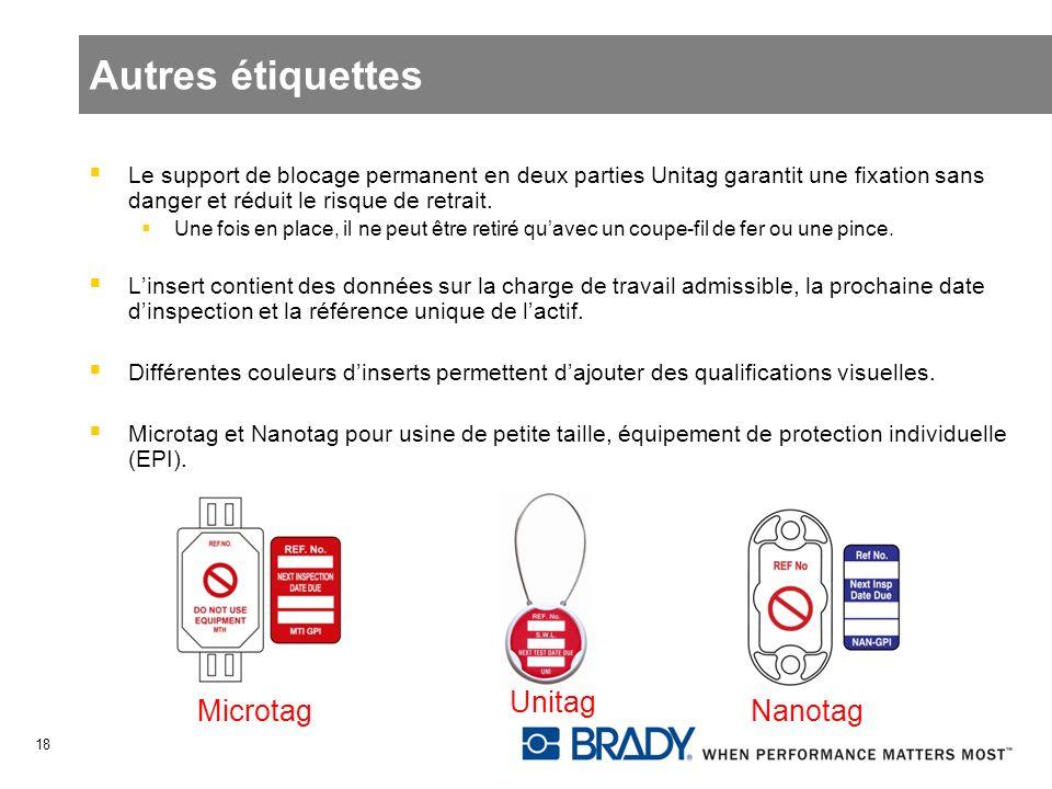 Autres étiquettes Le support de blocage permanent en deux parties Unitag garantit une fixation sans danger et réduit le risque de retrait. Une fois en