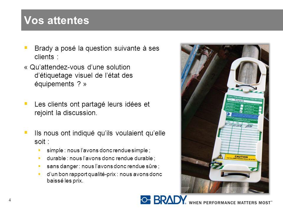 Vos attentes Brady a posé la question suivante à ses clients : « Quattendez-vous dune solution détiquetage visuel de létat des équipements ? » Les cli