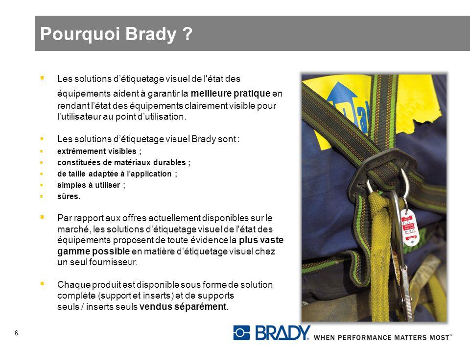 Pourquoi Brady ? Les solutions détiquetage visuel de l'état des équipements aident à garantir la meilleure pratique en rendant létat des équipements c