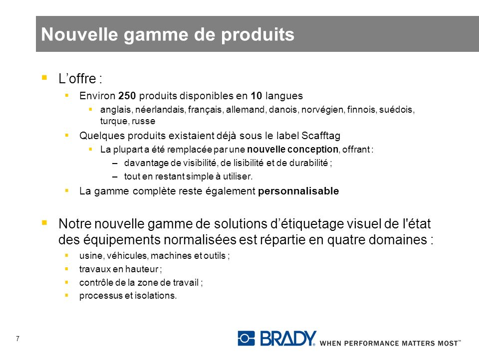Nouvelle gamme de produits Loffre : Environ 250 produits disponibles en 10 langues anglais, néerlandais, français, allemand, danois, norvégien, finnoi