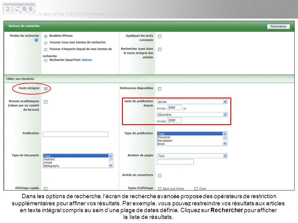 Dans les options de recherche, lécran de recherche avancée propose des opérateurs de restriction supplémentaires pour affiner vos résultats. Par exemp