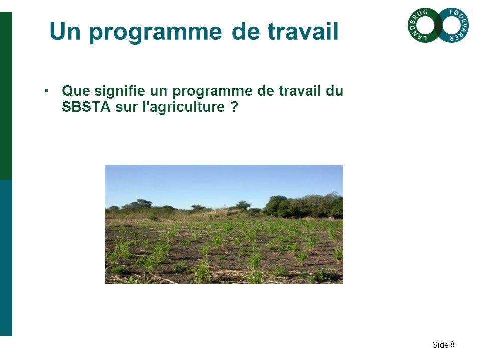 Side Un programme de travail Que signifie un programme de travail du SBSTA sur l agriculture 8