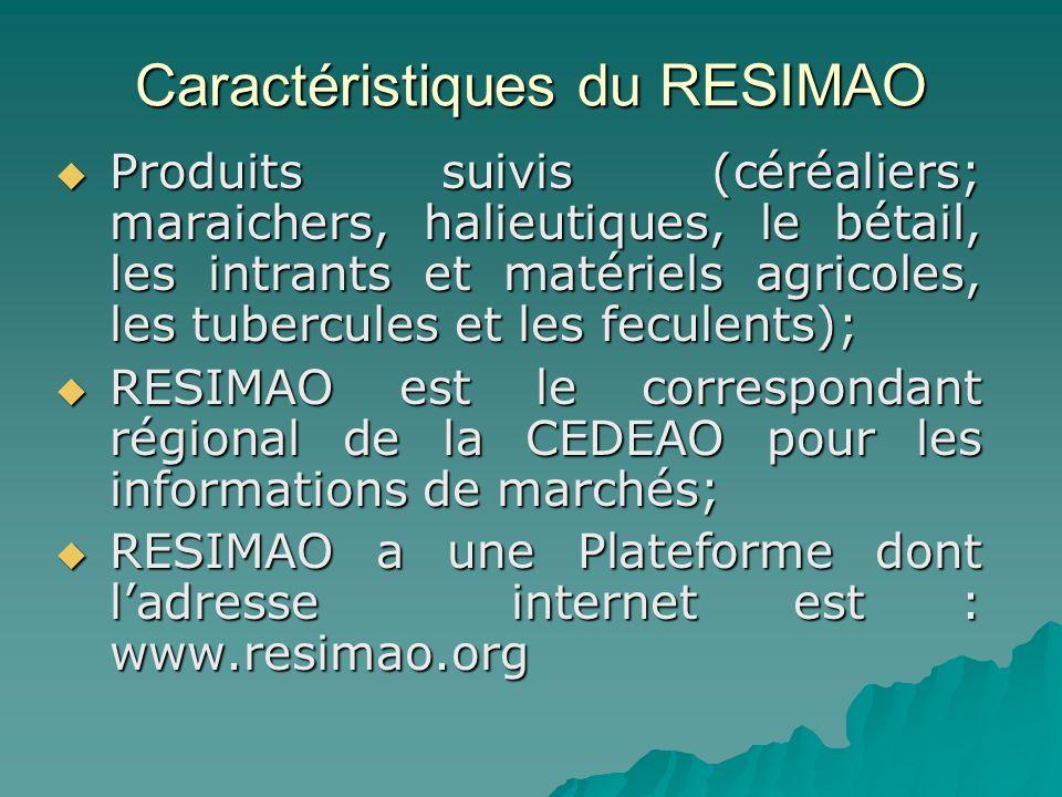 Caractéristiques du RESIMAO Produits suivis (céréaliers; maraichers, halieutiques, le bétail, les intrants et matériels agricoles, les tubercules et les feculents); Produits suivis (céréaliers; maraichers, halieutiques, le bétail, les intrants et matériels agricoles, les tubercules et les feculents); RESIMAO est le correspondant régional de la CEDEAO pour les informations de marchés; RESIMAO est le correspondant régional de la CEDEAO pour les informations de marchés; RESIMAO a une Plateforme dont ladresse internet est : www.resimao.org RESIMAO a une Plateforme dont ladresse internet est : www.resimao.org