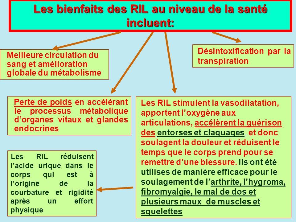 Les bienfaits des RIL au niveau de la santé incluent: Perte de poids en accélérant le processus métabolique dorganes vitaux et glandes endocrines Les