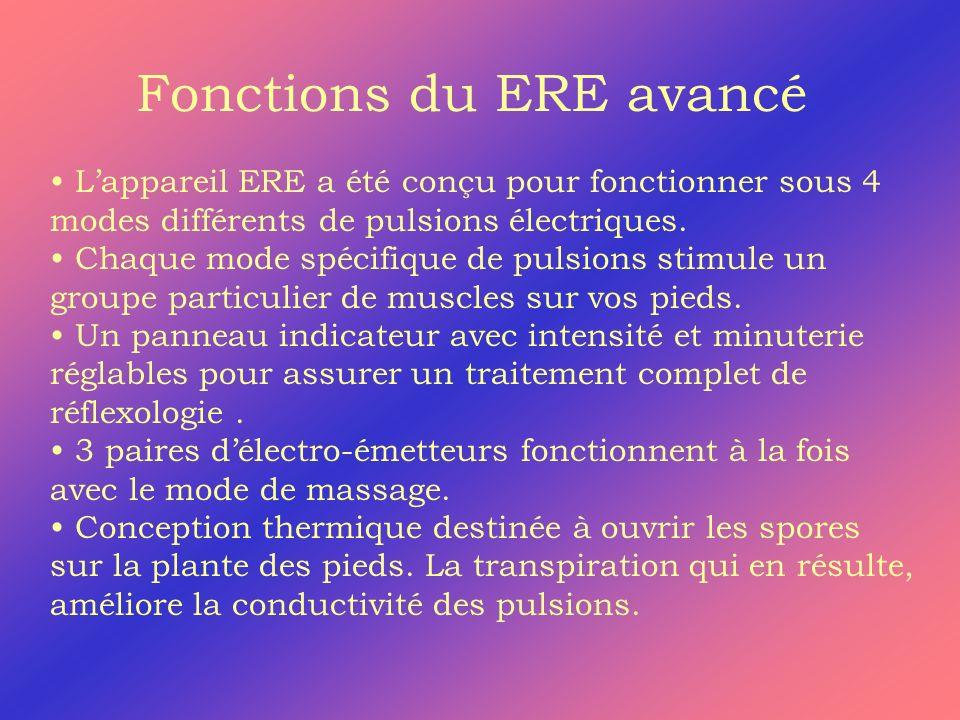 Fonctions du ERE avancé Lappareil ERE a été conçu pour fonctionner sous 4 modes différents de pulsions électriques. Chaque mode spécifique de pulsions
