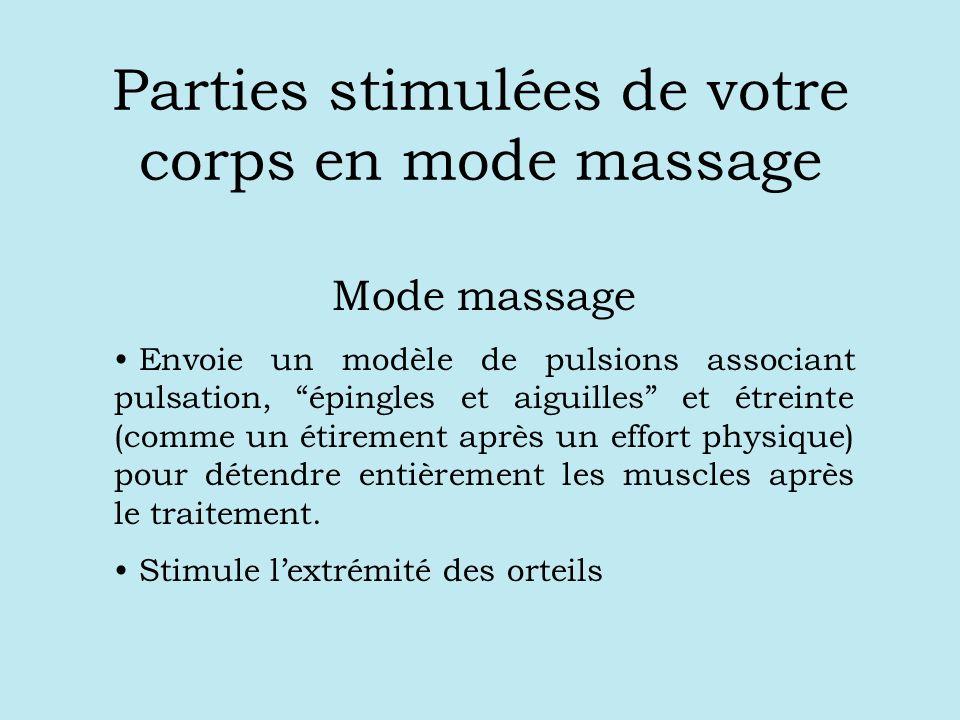 Parties stimulées de votre corps en mode massage Mode massage Envoie un modèle de pulsions associant pulsation, épingles et aiguilles et étreinte (comme un étirement après un effort physique) pour détendre entièrement les muscles après le traitement.