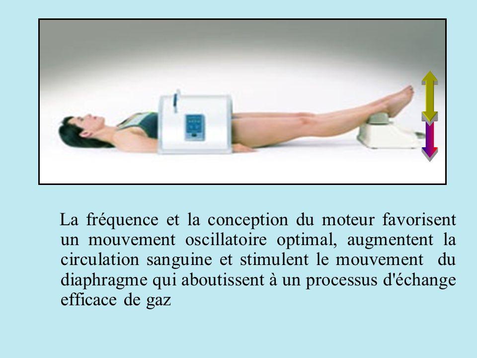 La fréquence et la conception du moteur favorisent un mouvement oscillatoire optimal, augmentent la circulation sanguine et stimulent le mouvement du diaphragme qui aboutissent à un processus d échange efficace de gaz