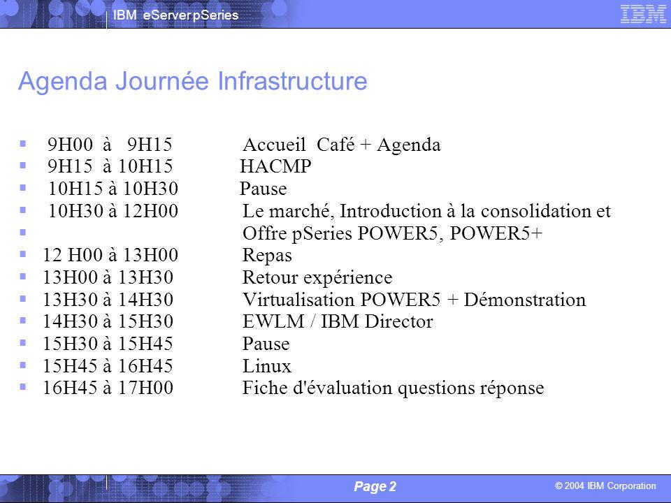 © 2004 IBM Corporation IBM eServer pSeries Page 2 Alain Lechevalier / Philippe Vandamme - IBM Agenda Journée Infrastructure 9H00 à 9H15 Accueil Café +