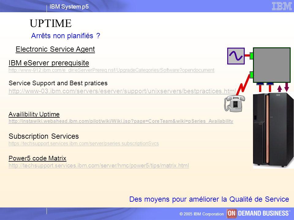 IBM System p5 © 2004 IBM Corporation © 2005 IBM Corporation UPTIME Arrêts non planifiés ? Des moyens pour améliorer la Qualité de Service Electronic S