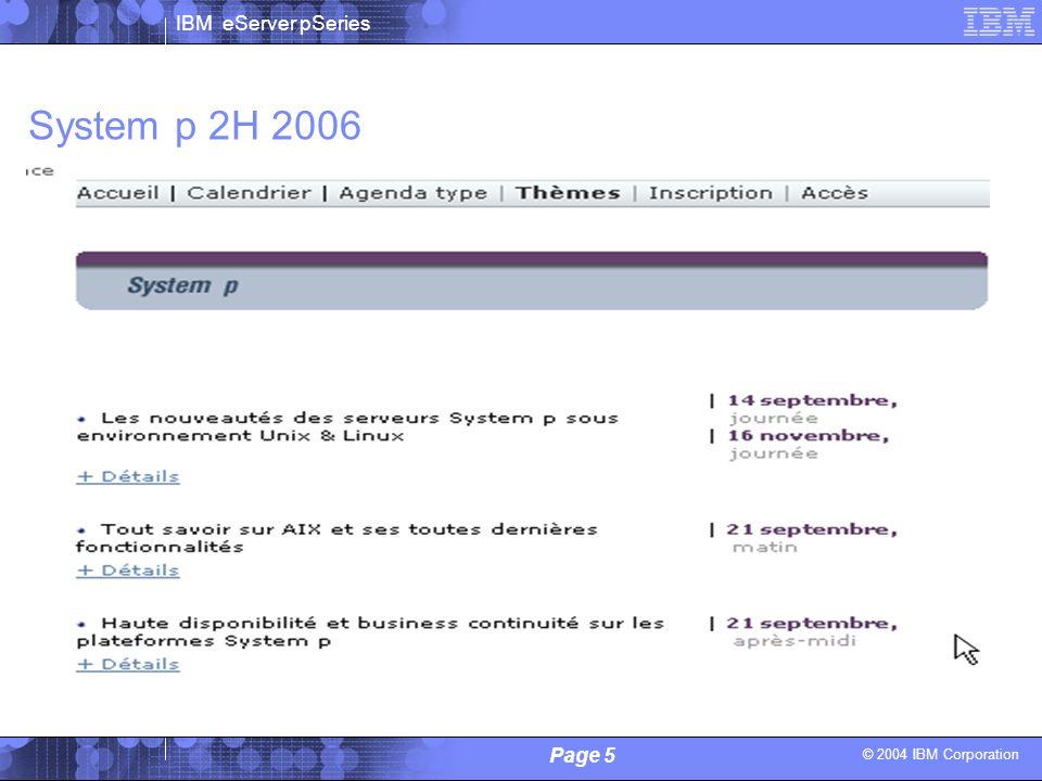 © 2004 IBM Corporation IBM eServer pSeries Page 5 Alain Lechevalier / Philippe Vandamme - IBM System p 2H 2006
