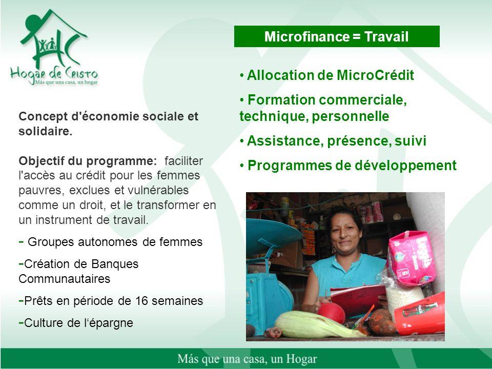 Concept d'économie sociale et solidaire. Objectif du programme: faciliter l'accès au crédit pour les femmes pauvres, exclues et vulnérables comme un d