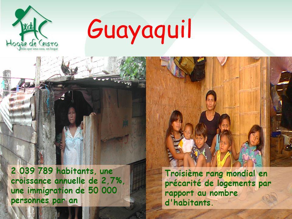 Guayaquil 2 039 789 habitants, une croissance annuelle de 2,7%, une immigration de 50 000 personnes par an Troisième rang mondial en précarité de logements par rapport au nombre d habitants.