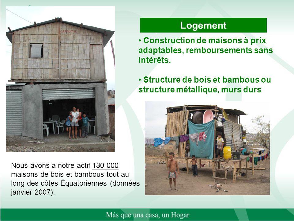 Nous avons à notre actif 130 000 maisons de bois et bambous tout au long des côtes Équatoriennes (données janvier 2007).