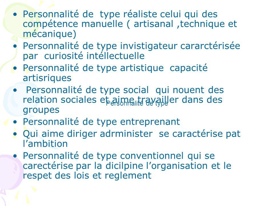 Personnalité de type réaliste celui qui des compétence manuelle ( artisanal,technique et mécanique) Personnalité de type invistigateur cararctérisée p