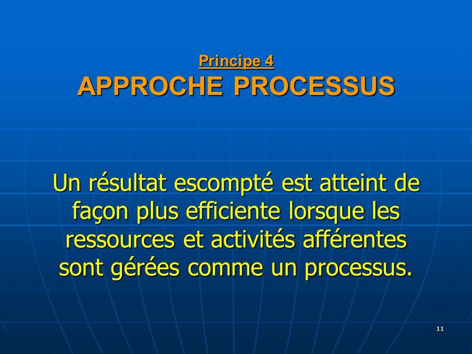 11 Principe 4 APPROCHE PROCESSUS Un résultat escompté est atteint de façon plus efficiente lorsque les ressources et activités afférentes sont gérées