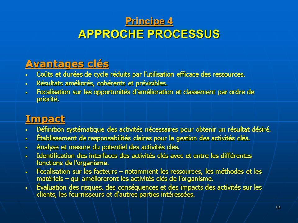 12 Principe 4 APPROCHE PROCESSUS Avantages clés Coûts et durées de cycle réduits par l'utilisation efficace des ressources. Coûts et durées de cycle r
