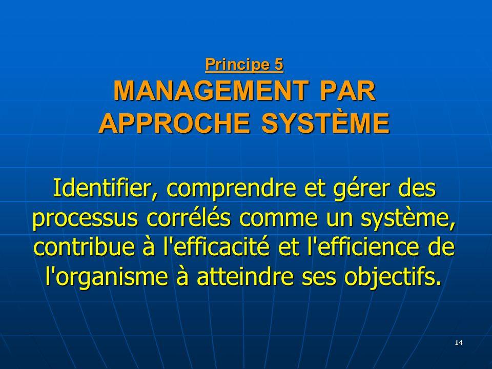 14 Principe 5 MANAGEMENT PAR APPROCHE SYSTÈME Identifier, comprendre et gérer des processus corrélés comme un système, contribue à l'efficacité et l'e
