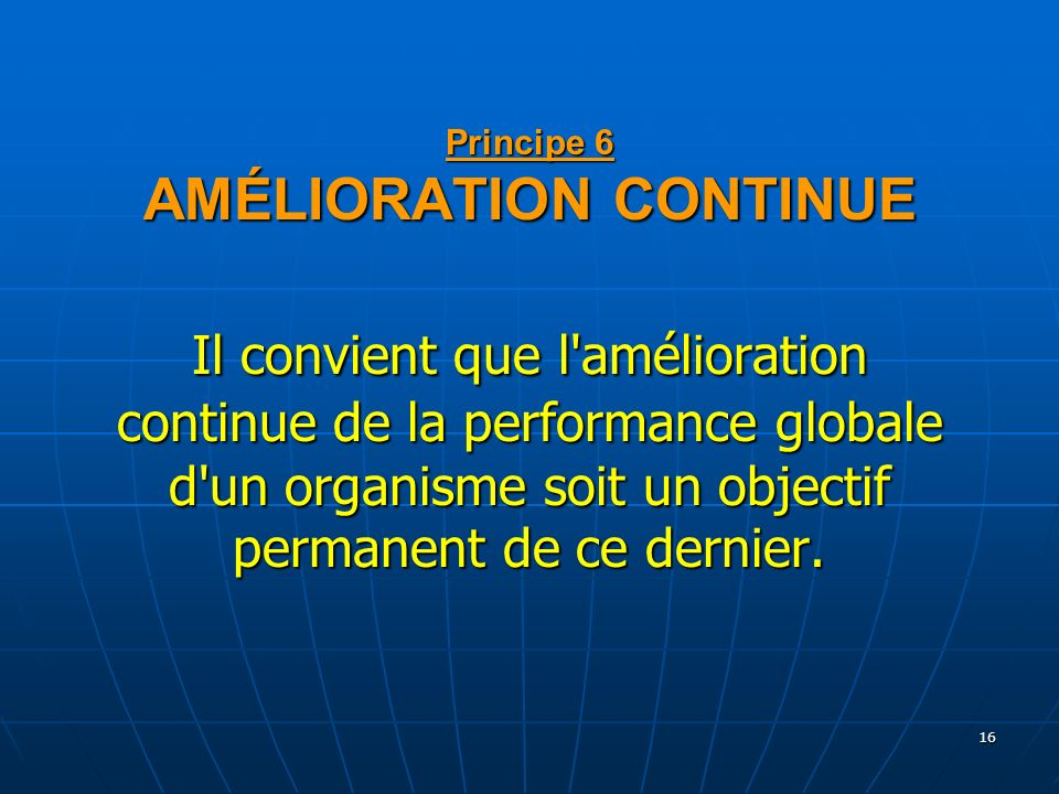 16 Principe 6 AMÉLIORATION CONTINUE Il convient que l'amélioration continue de la performance globale d'un organisme soit un objectif permanent de ce