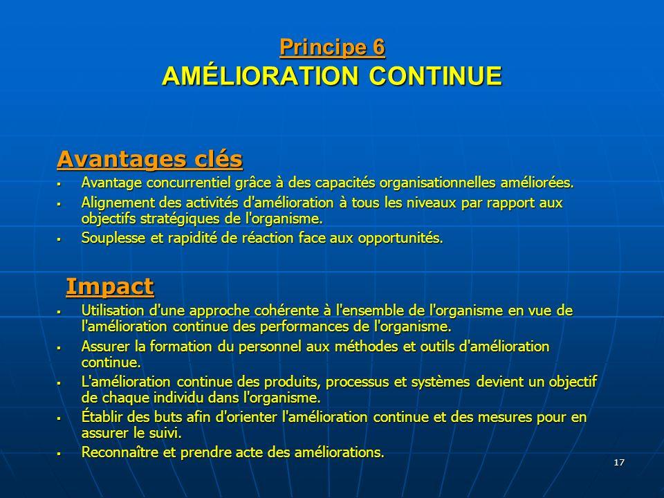 17 Principe 6 AMÉLIORATION CONTINUE Avantages clés Avantage concurrentiel grâce à des capacités organisationnelles améliorées. Avantage concurrentiel