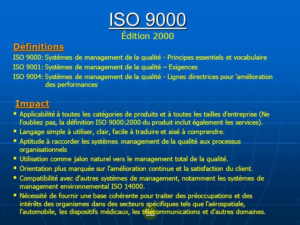 ISO 9000 ISO 9000 Édition 2000 Définitions ISO 9000: Systèmes de management de la qualité - Principes essentiels et vocabulaire ISO 9001: Systèmes de