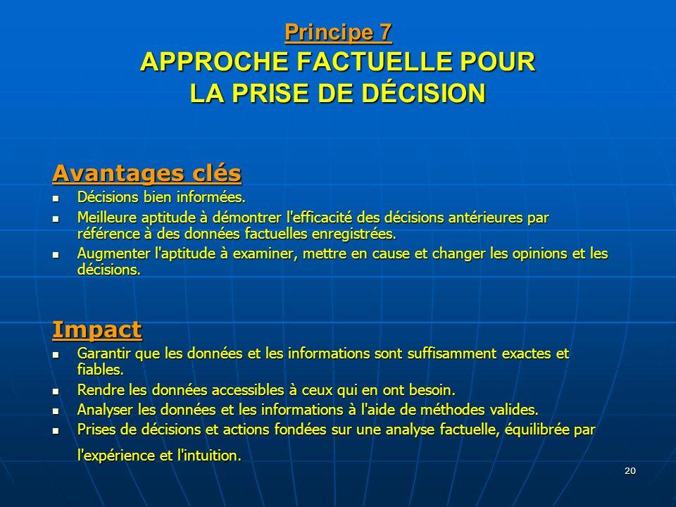 20 Principe 7 APPROCHE FACTUELLE POUR LA PRISE DE DÉCISION Avantages clés Décisions bien informées. Décisions bien informées. Meilleure aptitude à dém