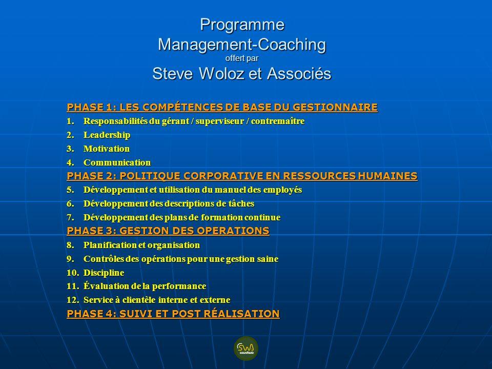 Programme Management-Coaching offert par Steve Woloz et Associés PHASE 1: LES COMPÉTENCES DE BASE DU GESTIONNAIRE 1. Responsabilités du gérant / super