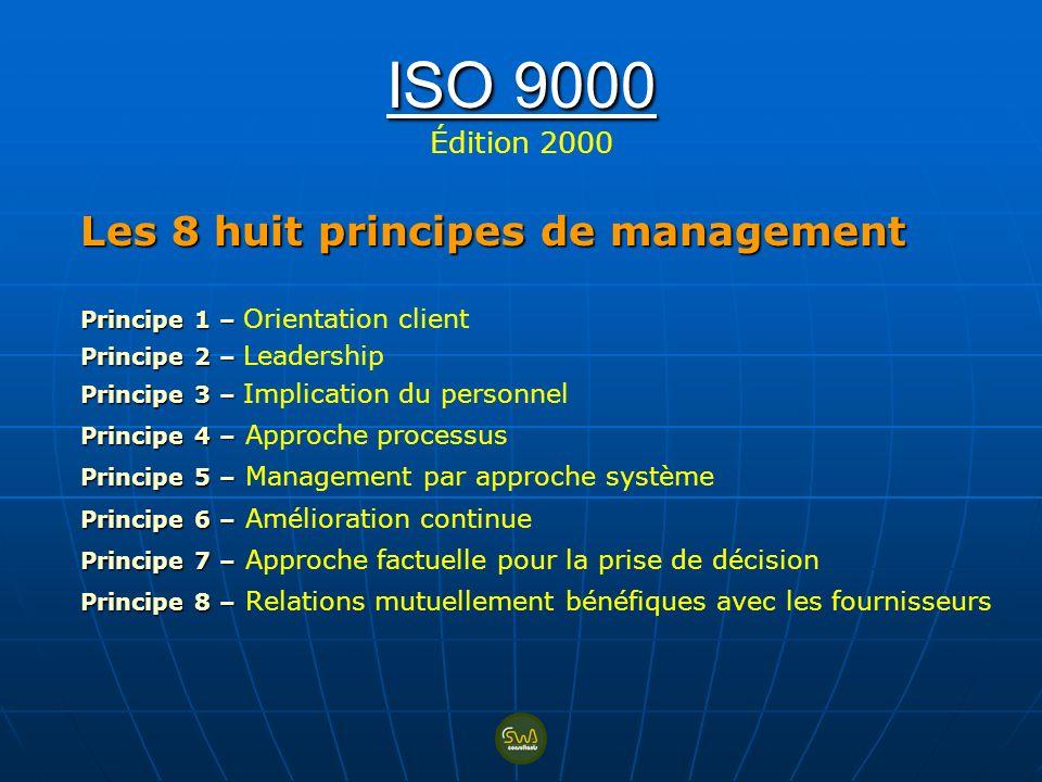 ISO 9000 ISO 9000 Édition 2000 Les 8 huit principes de management Principe 1 – Principe 1 – Orientation client Principe 2 – Principe 2 – Leadership Pr