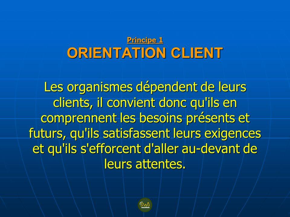Principe 1 ORIENTATION CLIENT Les organismes dépendent de leurs clients, il convient donc qu'ils en comprennent les besoins présents et futurs, qu'ils