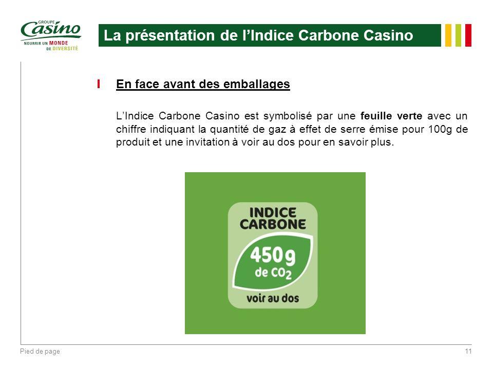Pied de page11 La présentation de lIndice Carbone Casino En face avant des emballages LIndice Carbone Casino est symbolisé par une feuille verte avec