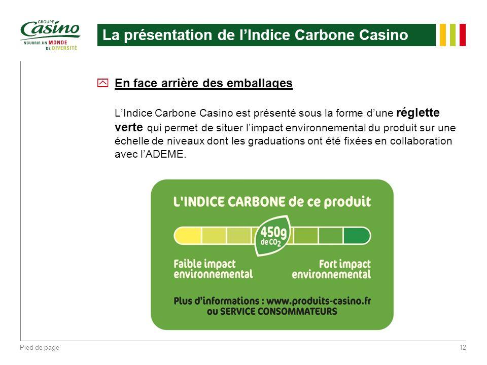 Pied de page12 La présentation de lIndice Carbone Casino yEn face arrière des emballages LIndice Carbone Casino est présenté sous la forme dune réglet