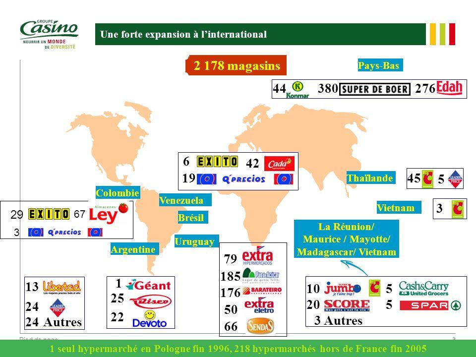 Pied de page3 Une forte expansion à linternational 44380276 Thaïlande Brésil Colombie Argentine Uruguay 13 24 24 Autres 1 25 22 45 5 2 178 magasins 10
