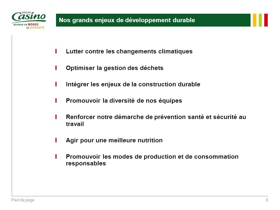 Pied de page6 Nos grands enjeux de développement durable Lutter contre les changements climatiques Optimiser la gestion des déchets Intégrer les enjeu