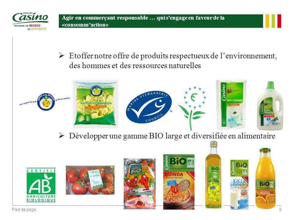 Pied de page8 Agir en commerçant responsable … qui sengage en faveur de la «consommaction» Etoffer notre offre de produits respectueux de lenvironneme