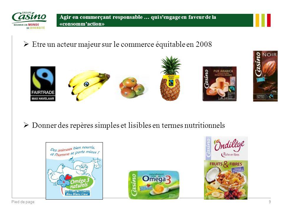 Pied de page9 Agir en commerçant responsable … qui sengage en faveur de la «consommaction» Etre un acteur majeur sur le commerce équitable en 2008 Don