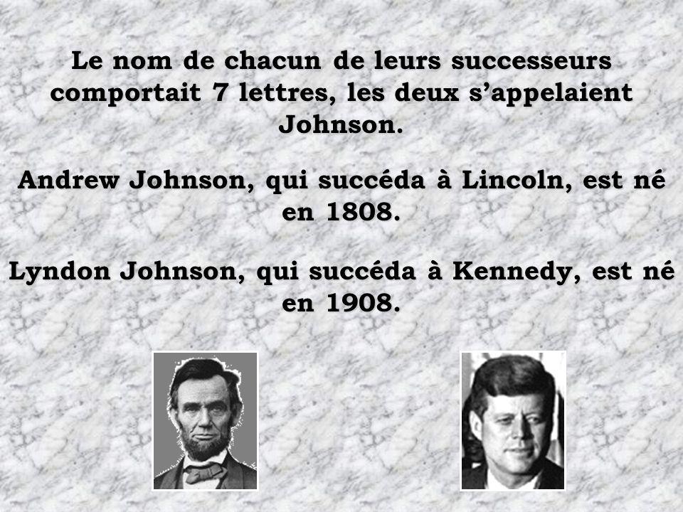 Les deux présidents furent assassinés par des sudistes. Les deux présidents eurent pour successeur un sudiste.