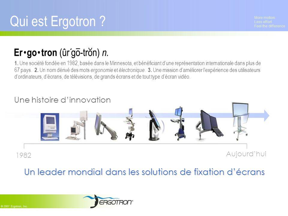 More motion Less effort Feel the difference © 2007 Ergotron, Inc. Qui est Ergotron ? 1. Une société fondée en 1982, basée dans le Minnesota, et bénéfi