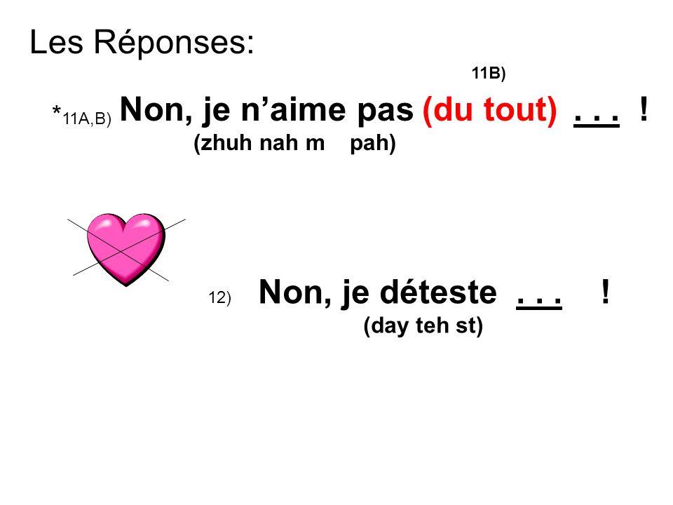 Les Réponses: * 11A,B) Non, je naime pas...(zhuh nah m pah) 12) Non, je déteste...