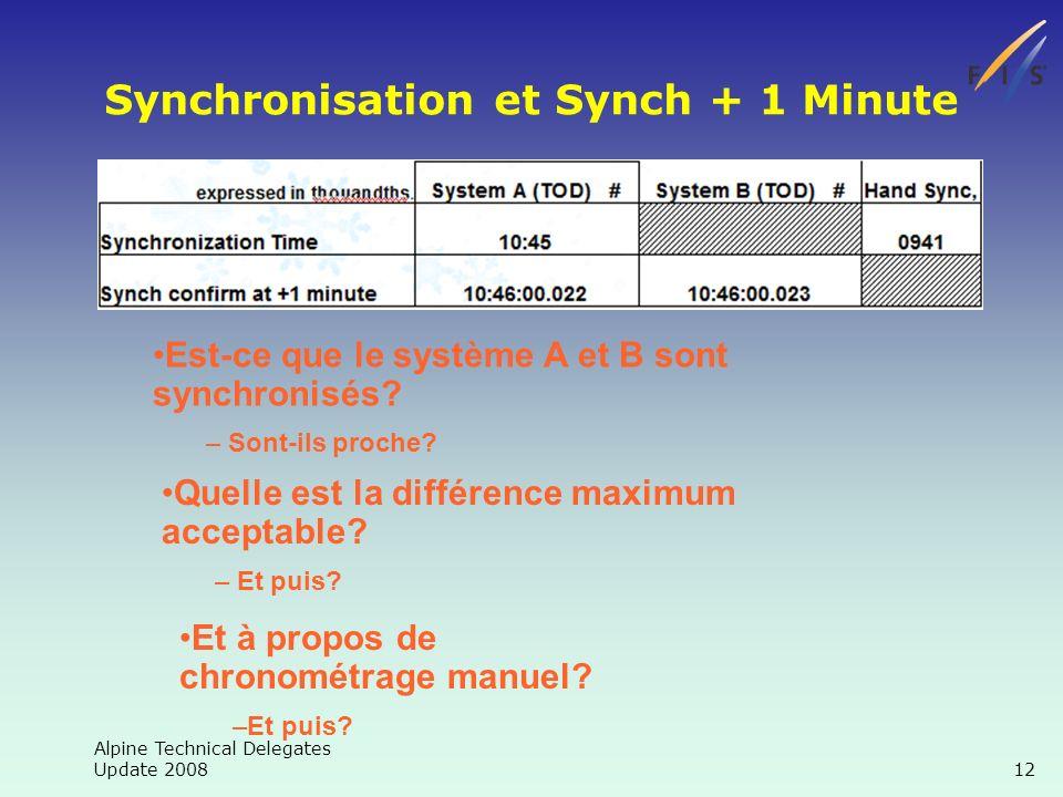Alpine Technical Delegates Update 2008 12 Synchronisation et Synch + 1 Minute Est-ce que le système A et B sont synchronisés.