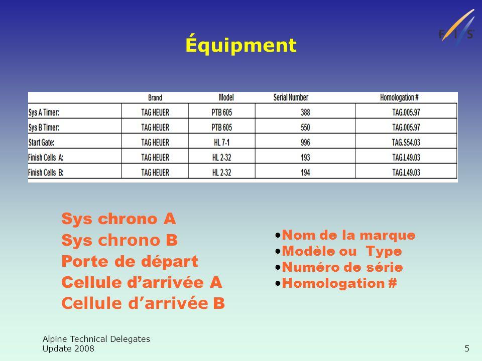 Alpine Technical Delegates Update 2008 5 Équipment Sys chrono A Sys chrono B Porte de départ Cellule darrivée A Cellule darrivée B Nom de la marque Modèle ou Type Numéro de série Homologation #