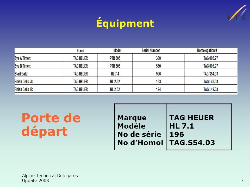 Alpine Technical Delegates Update 2008 7 Équipment Porte de départ Marque Modèle No de série No dHomol TAG HEUER HL 7.1 196 TAG.S54.03