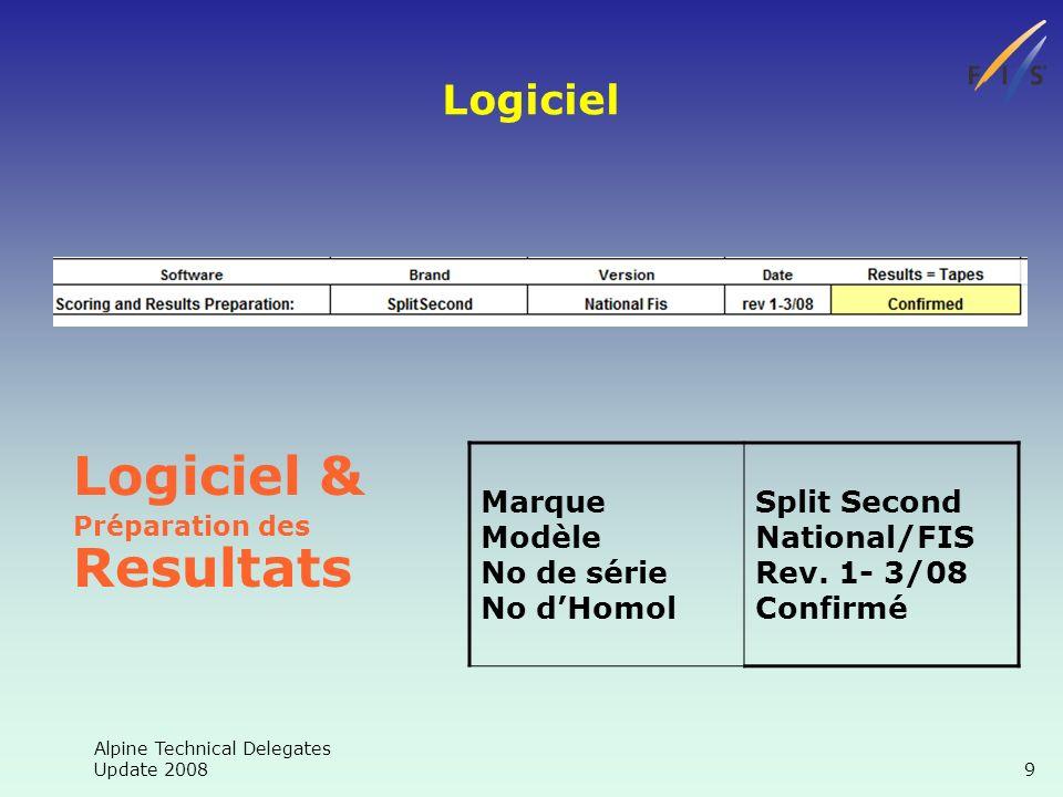 Alpine Technical Delegates Update 2008 9 Logiciel Logiciel & Préparation des Resultats Marque Modèle No de série No dHomol Split Second National/FIS Rev.
