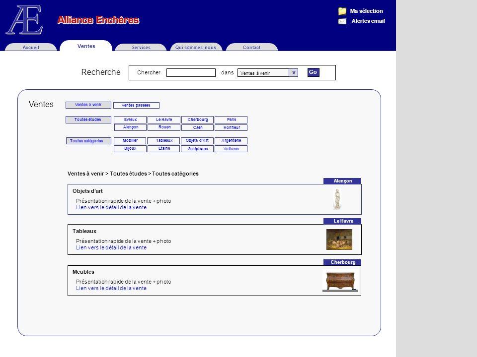 Ventes Objets dart Présentation rapide de la vente + photo Lien vers le détail de la vente Tableaux Présentation rapide de la vente + photo Lien vers