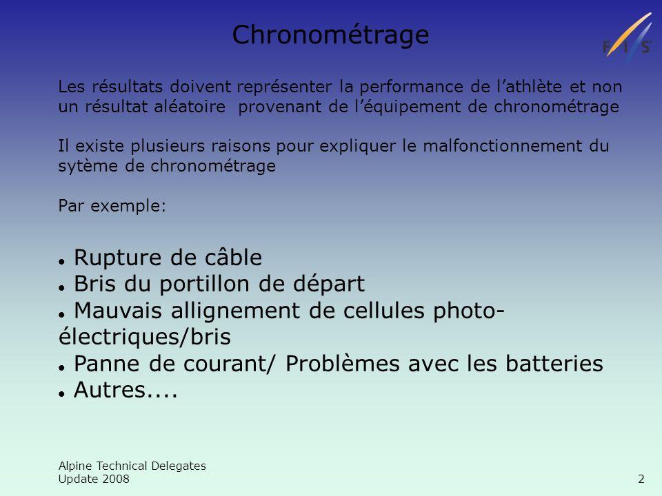 Alpine Technical Delegates Update 2008 13 Chronométrage Informations générales(codex,date,genre,place) Le bon codex est 6524 et non pas 5788