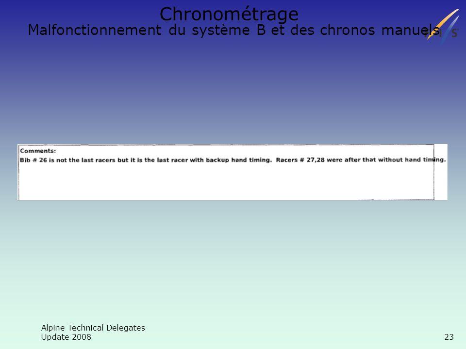 Alpine Technical Delegates Update 2008 23 Chronométrage Malfonctionnement du système B et des chronos manuels