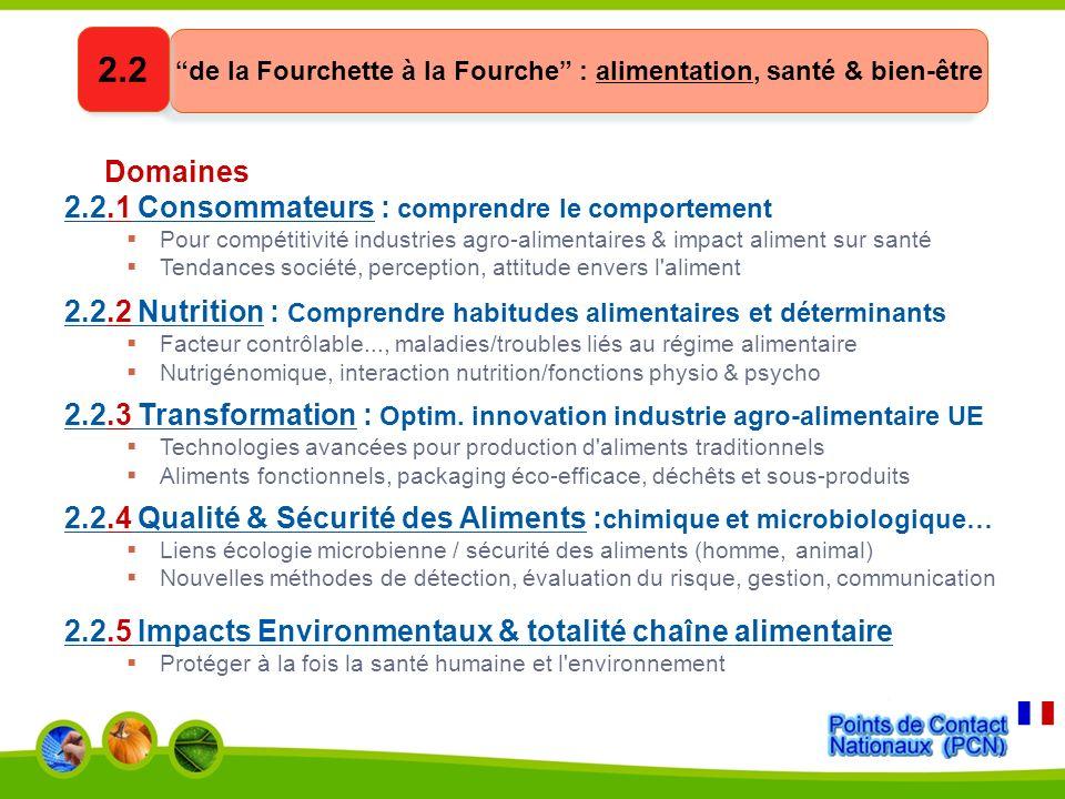 Domaines 2.3.1 Nouvelles sources de biomasse et de bioproduits conversion optimisée des produits bruts (végétal, animal, microbes) en bio-produits de haute valeur ajoutée 2.3.2 Biotechnologie marine et d eau douce (biotechs bleues)* composés marins bioactifs et biomasse (algues), pour l industrie 2.3.3 Biotech industrielle: nvx bio-produits/procédés à hte valeur ajoutée nouvx micro-organismes industriels, multi-enzymes 2.3.4 Bioraffineries biodiesel, biocarburants, bioproduits à partir de biomasse 2.3.5 Biotechnologie pour l environnement bio-rémédiation, processus industriels éco-efficients 2.3.6 Tendances émergentes en biotechnologie nano-biotech intelligentes, membranes fonctionnalisées, bio-interfaces Sciences du vivant, biotechnologies & biochimie pour des procédés et produits non-alimentaires durables 2.3