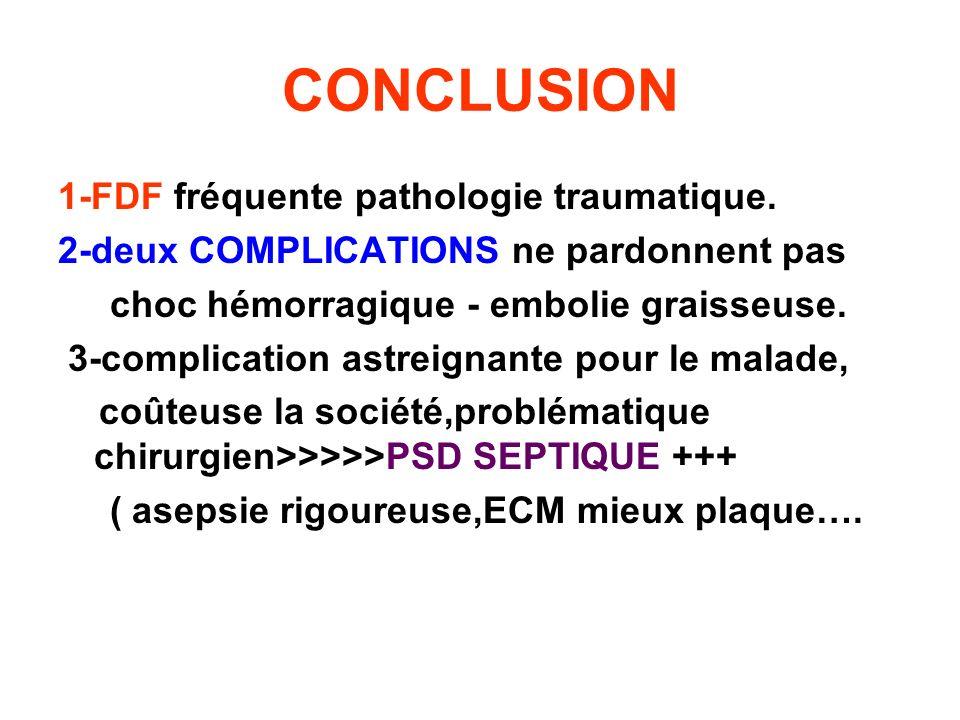 CONCLUSION 1-FDF fréquente pathologie traumatique. 2-deux COMPLICATIONS ne pardonnent pas choc hémorragique - embolie graisseuse. 3-complication astre